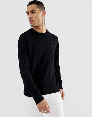 Emporio Armani crew neck logo jumper in black