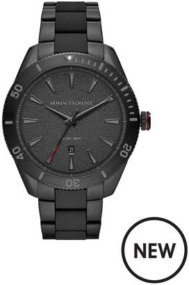 Enzo Black Date Dial Black Stainless Steel And Silicone Bracelet Mens Watch