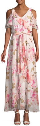 Iconic American Designer Cold Shoulder-Ruffle Floral Maxi Dress