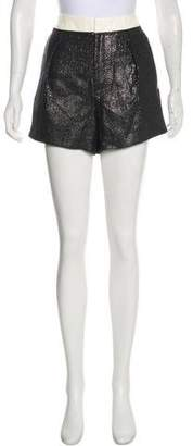 Helmut Lang Leather-Trimmed High-Rise Mini Shorts