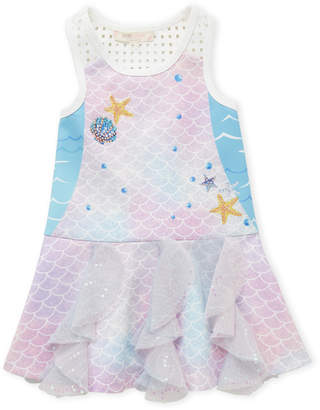Baby Sara Toddler Girls) Mermaid Scales Fit & Flare Dress