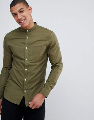New Look oxford shirt in khaki with grandad collar