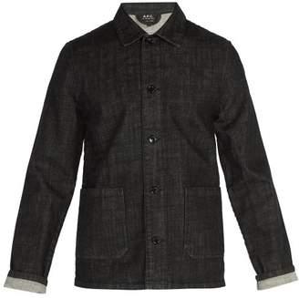 A.p.c. - Point Collar Denim Overshirt - Mens - Black