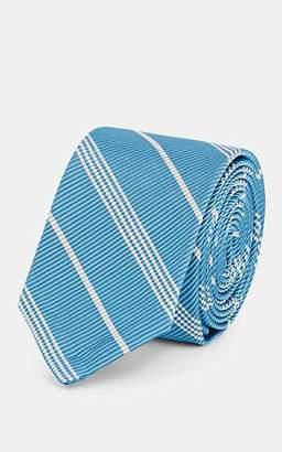 Thom Browne Men's Striped Silk-Cotton Necktie - Lt. Blue