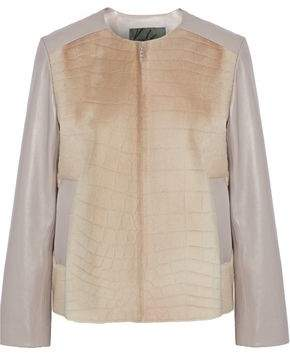 Karl Donoghue Embossed Shearling-Paneled Leather Jacket