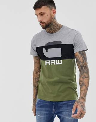 G Star G-Star Graphic colour block t-shirt in green
