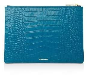 Whistles Medium Croc-Embossed Leather Clutch