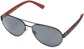 Polo Ralph Lauren Men's 0Ph3098 923081 Sunglasses, (Black/Polargrey)