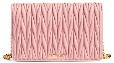 Miu Miu Women's Miu Miu Matelasse Wallet On A Chain - Metallic