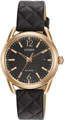 Citizen Eco-Drive Black Dial Black Quilted Leather Strap Ladies Watch