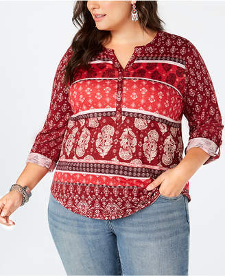 Style&Co. Style & Co Plus Size Printed Roll-Tab Top