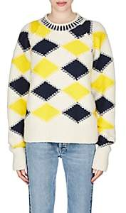 Maison Margiela Women's Argyle Wool-Blend Sweater-White