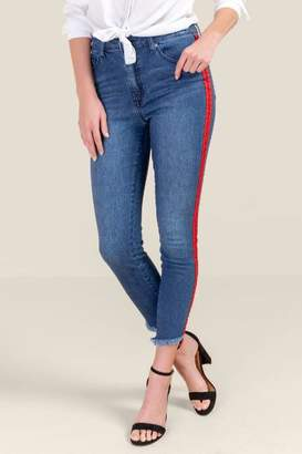 francesca's Melody Mid Rise Side Stripe Jeans - Medium Wash