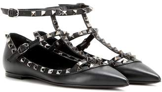 Valentino Rockstud Noir leather ballerinas