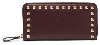 Valentino Rockstud Leather Continental Wallet - Womens - Burgundy