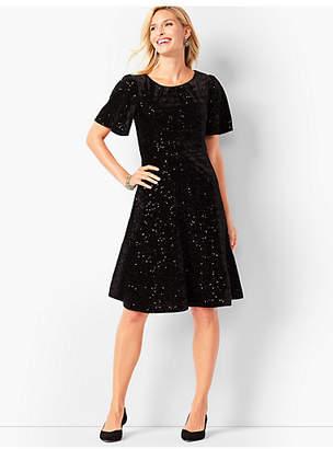 Talbots Velvet Sequined Fit & Flare Dress