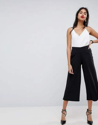 Asos DESIGN cropped black wide leg PANTS in jersey crepe