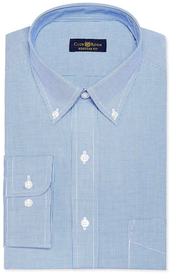 Club Room Estate Wrinkle Resistant French Blue Microcheck Dress Shirt