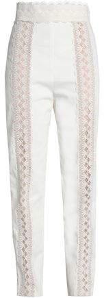 Lace-Trimmed Cotton-Twill Slim-Leg Pants