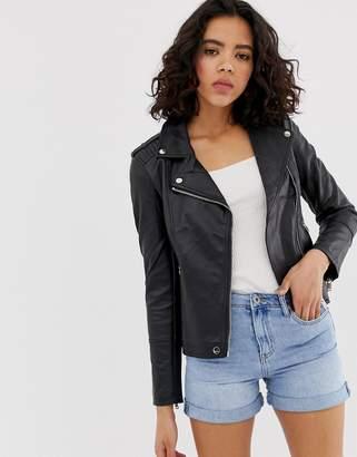 Warehouse biker jacket in faux leather in black