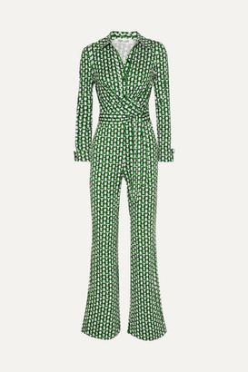 Diane von Furstenberg Michele Wrap-effect Printed Silk-jersey Jumpsuit - Green