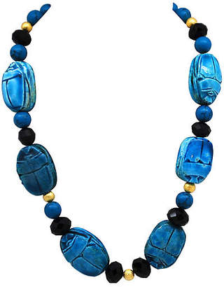 One Kings Lane Vintage Scarab & Faceted Glass Bead Necklace - Thanks for the Memories
