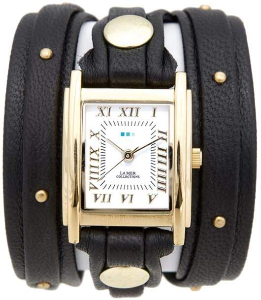 La Mer Square Case Goldtone Studded Black Leather Wrap-Design Watch