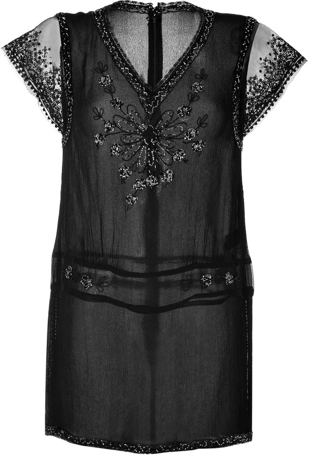 Anna Sui Floral Beaded Silk Top in Black