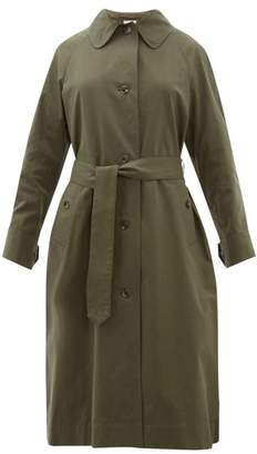 Margaret Howell Inverted Back Pleat Cotton Twill Trench Coat - Womens - Dark Green