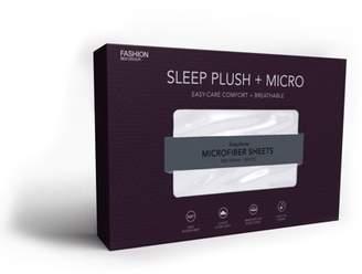Leggett & Platt Sleep Plush White 4-Piece Microfiber 500g Bed Sheet Set with Wrinkle Free Performance Fabric, King