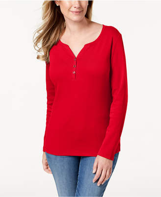 Karen Scott Cotton Henley Top
