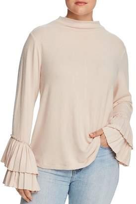 Bobeau B Collection by Curvy Linda Ruffle-Sleeve Top