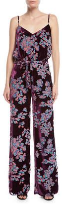 Saloni Loretta V-Neck Wide-Leg Printed Silk Jumpsuit