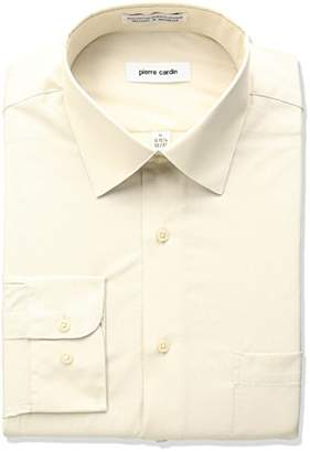 Pierre Cardin Men's Classic Fit Solid Broadcloth Semi Spread Collar Shirt