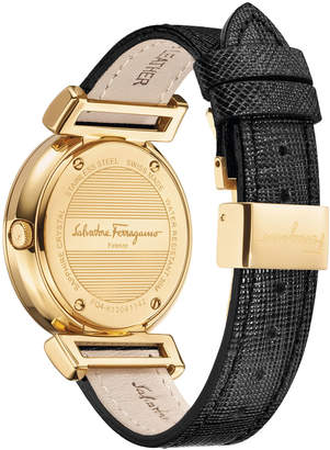 Salvatore Ferragamo 36mm Minuetto Rose Gold IP Gancio-Dial Watch with Black Leather Strap