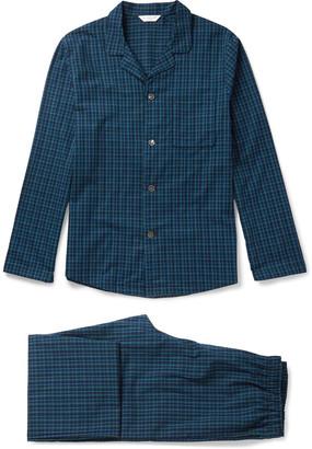 Derek Rose Braemar Checked Cotton Pyjama Set $330 thestylecure.com