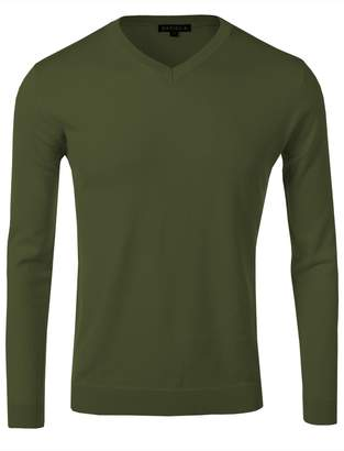 fhnlove Daniel K Men's Long-Sleeve Basic V-Neck Sweater Size S