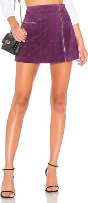 Blank NYC BLANKNYC Asymmetrical Zip Suede Skirt