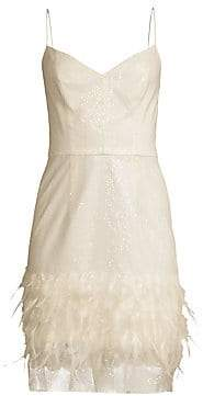 Milly Women's Hanna Sequin& Feather Embellished Dress