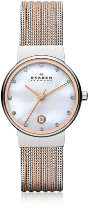 Skagen Ancher Two Tone Striped Stainless Steel Mesh Women's Watch $138 thestylecure.com