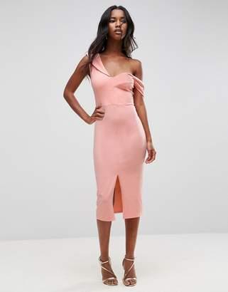 Asos Sculpted Asymmetric Bardot Midi Dress