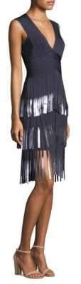 Herve Leger Fringe V-Neck Dress