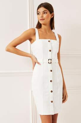 Lipsy Belted Denim Dress - 10 - White