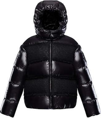 Moncler Elbe Detachable-Hood Puffer Coat w/ Tweed, Size 4-6
