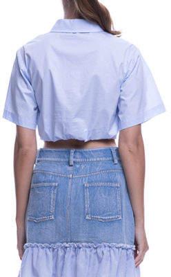 ENGLISH FACTORY Crop Knot-Front Short-Sleeve Shirt