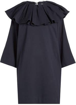 Nina Ricci Jersey Dress with Ruffled Collar