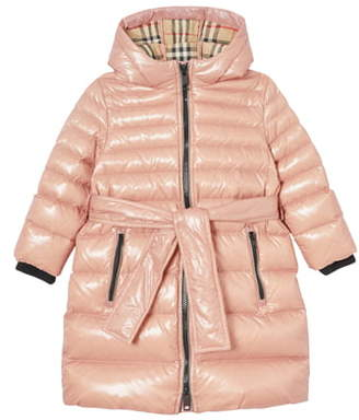 Burberry Sharona Belted Hooded Down Puffer Coat