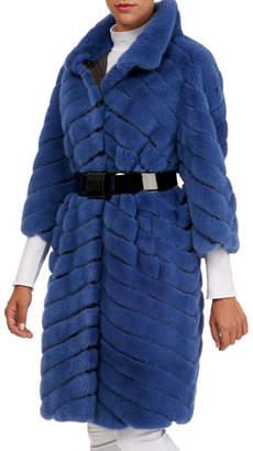 Maurizio Braschi Chevron Mink Stroller Coat w/ Leather Inserts