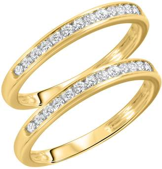 My Trio Rings 1/2 CT. T.W. Round Cut Ladies Same Sex Wedding Band Set 14K Yellow Gold- Size 3.5