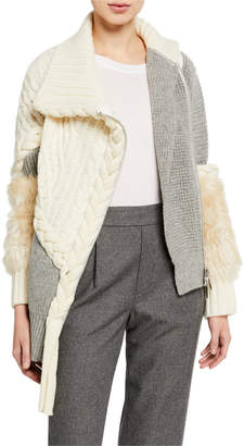 Sacai Mixed Cable & Braided Knit Sweater with Faux-Fur Trim